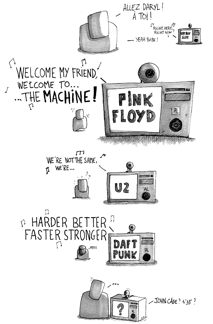 pink floyd, fatboy slim, u2, daft punk