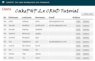 CakePHP 2.x CRUD Tutorial