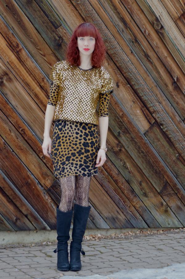 sequin top, leopard dress