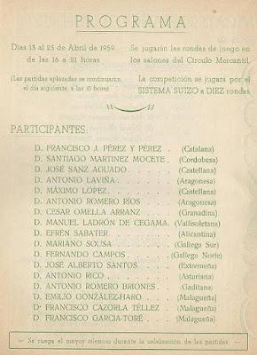 Folleto de la Semifinal del Campeonato de España de Ajedrez 1959 (2)