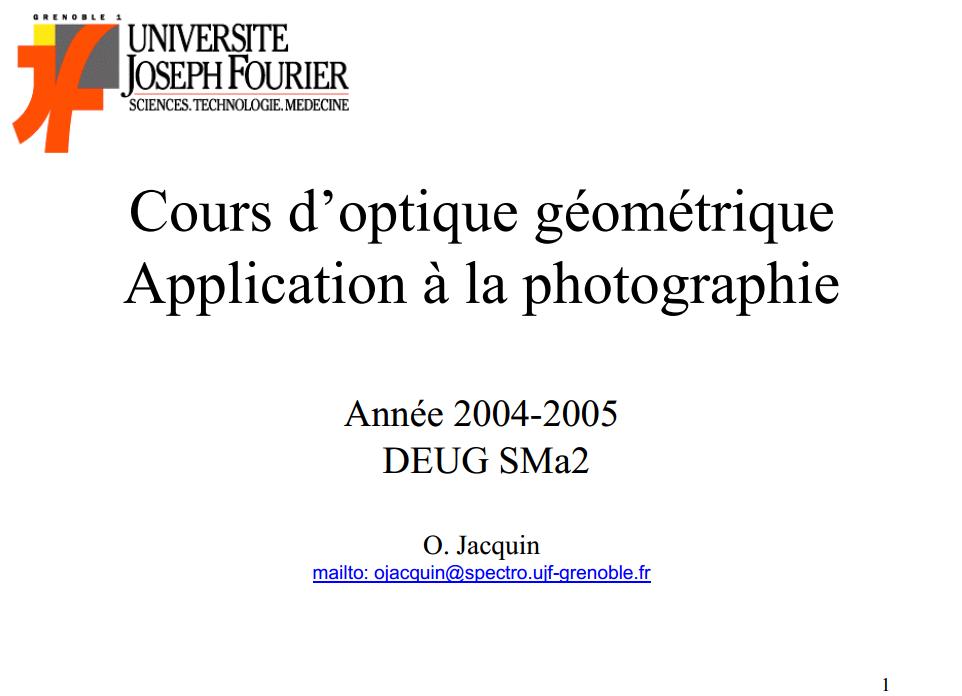 Cours d'optique géométrique Application à la photographie
