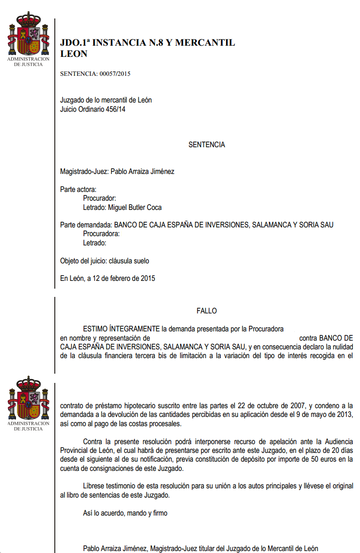 Otra demanda m s ganada por nuestros abogados contra caja for Acuerdo clausula suelo caja duero