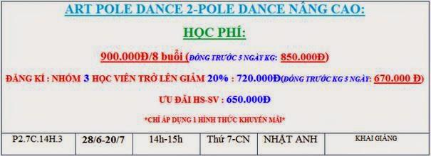 Lịch học múa cột tháng 6/2014