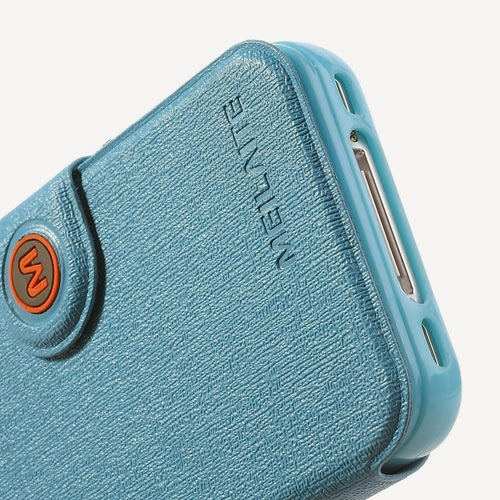 Oracle Grain Wallet Leather Case Cover with Stand for iPhone 4 4s - Baby Blue