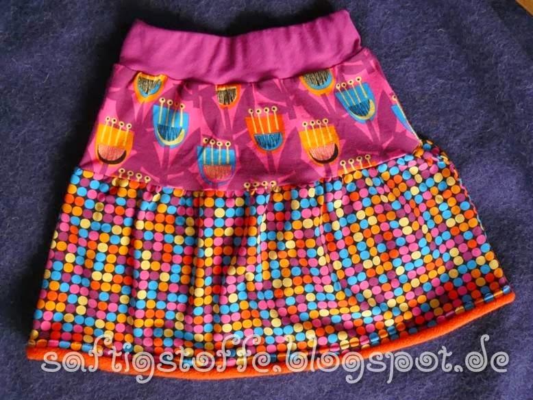 Jersey-Röckchen aus 2 verschiedenen Stoffen, pink-orange