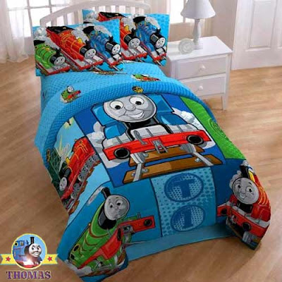 Steam engine locomotive graphics design Cranky the crane and Thomas tank bed blanket set so sweet