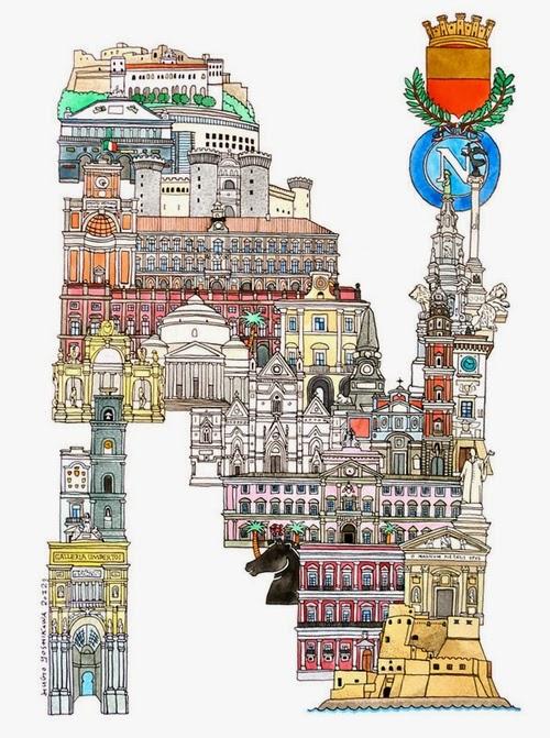 14-N-Naples-Italy-Hugo-Yoshikawa-Illustrated-Architectural-Alphabet-City-Typography-www-designstack-co