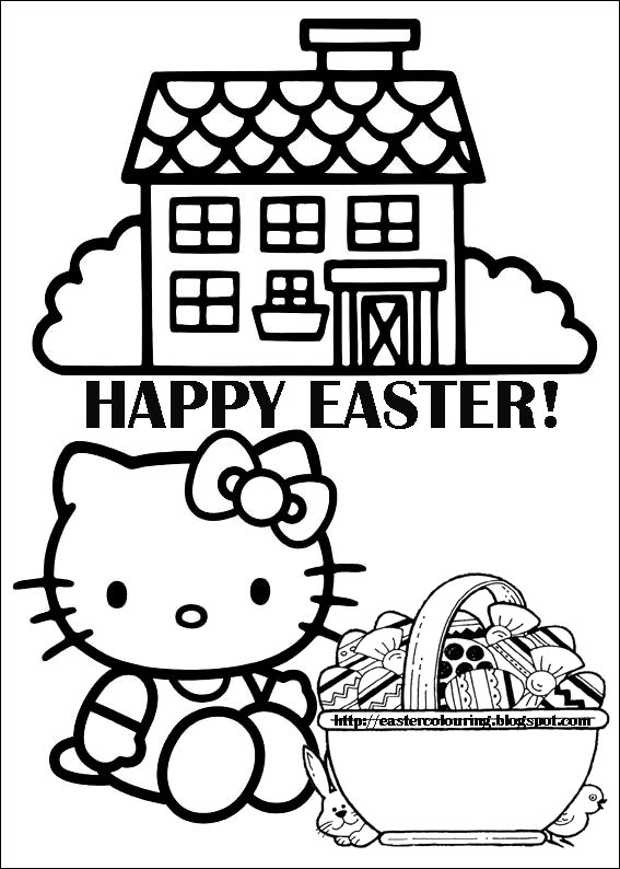 easter colouring - Kitty Coloring Pages Easter