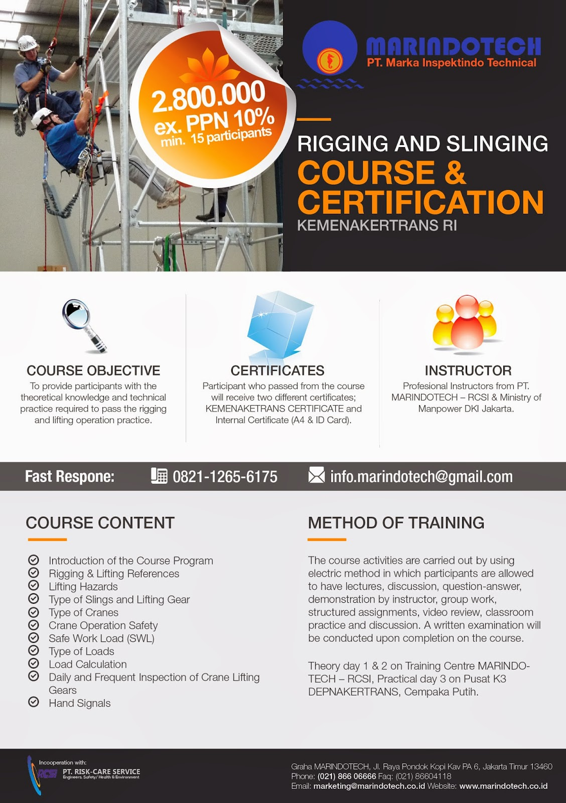 Rigging and slinging course certification kemenakertrans rcsi training hse training hse 1betcityfo Image collections