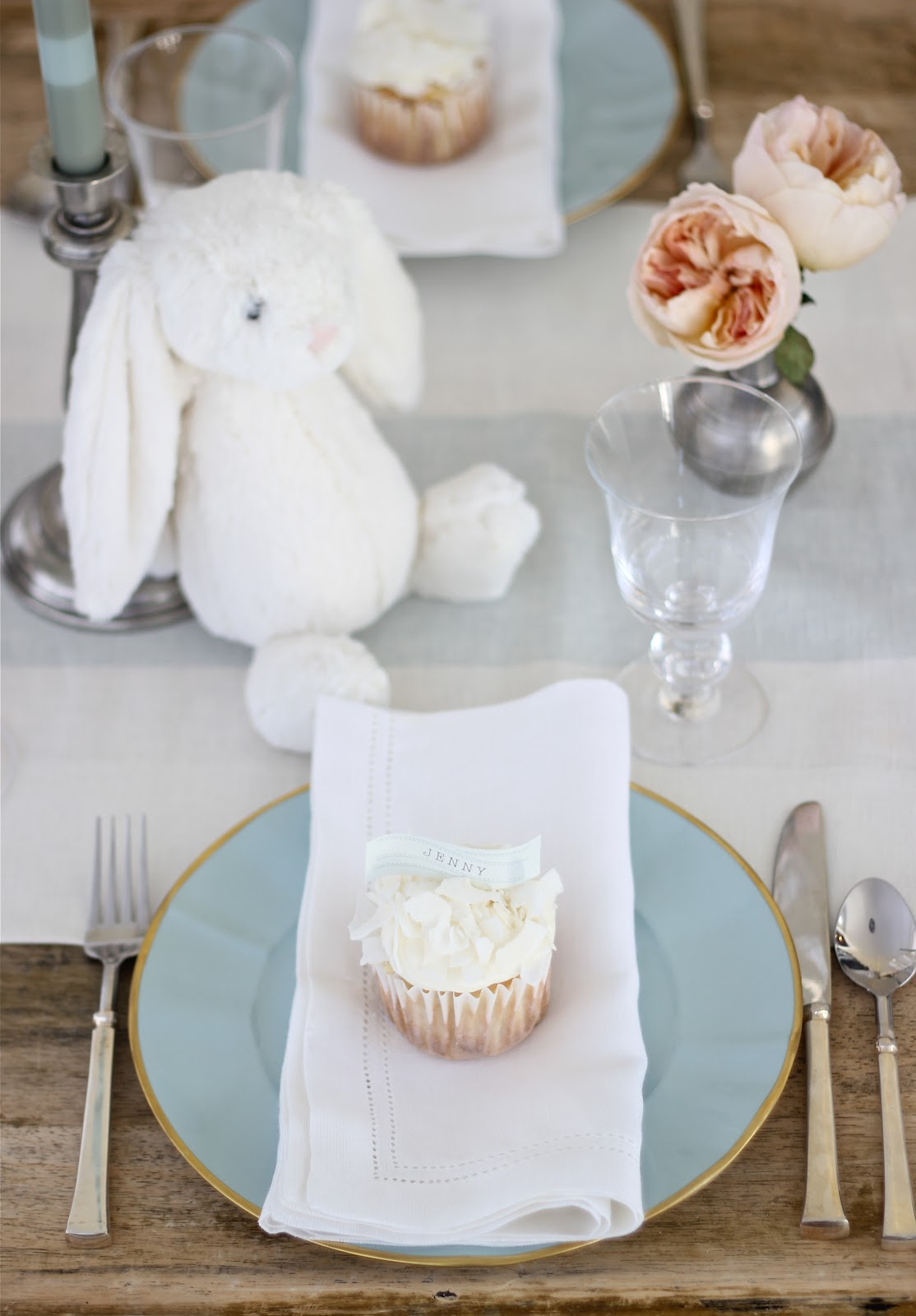 jenny steffens hobick bunny baby shower table setting menu