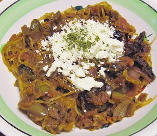 Spaghetti squash 3-tomato sauce pork cheeks
