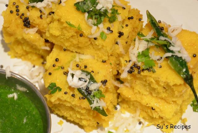khaman, gujrati breakfast, steamed chickpea flour, steamed breakfast, dhokla, nylon khaman