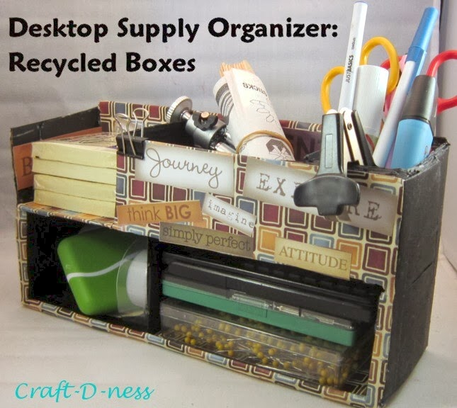 Craft d ness diy desktop supply organizer recycled boxes - Make your own desk organizer ...
