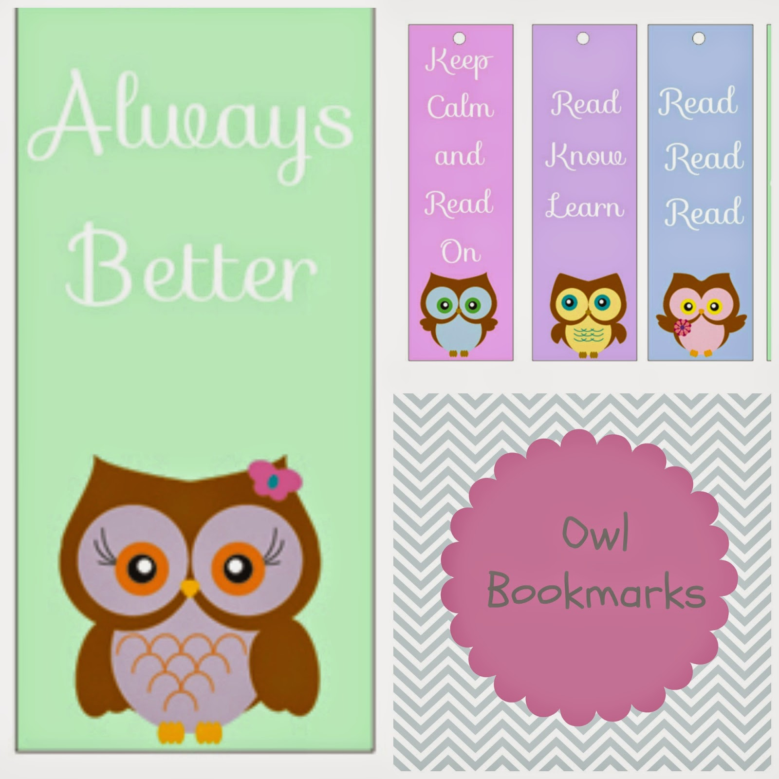 free printables owl bookmarks