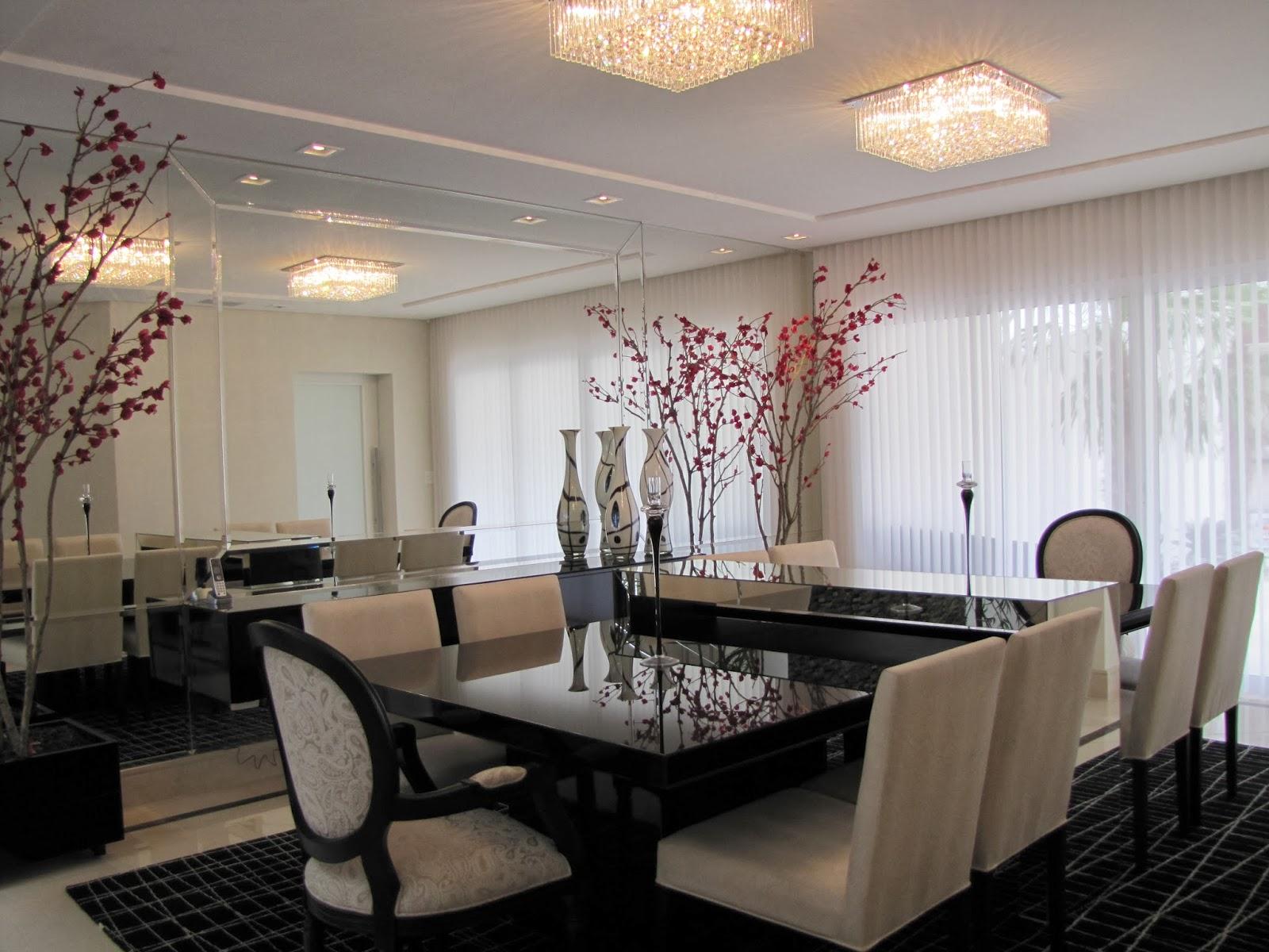 #836848  na decoração! Decor Salteado Blog de Decoração e Arquitetura 1600x1200 píxeis em Decoração De Sala De Jantar Com Papel De Parede E Espelho