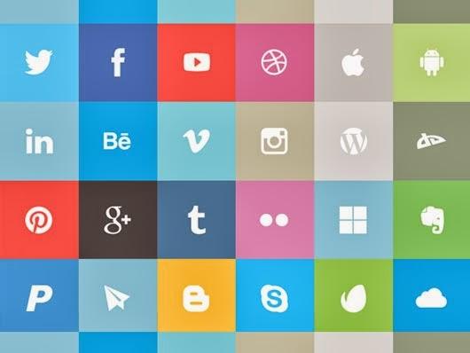 24 Free Flat Social Icons
