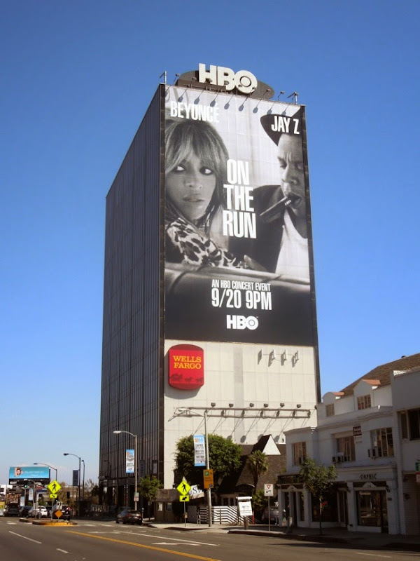 Giant Beyonce Jay Z On the Run tour billboard Sunset Strip