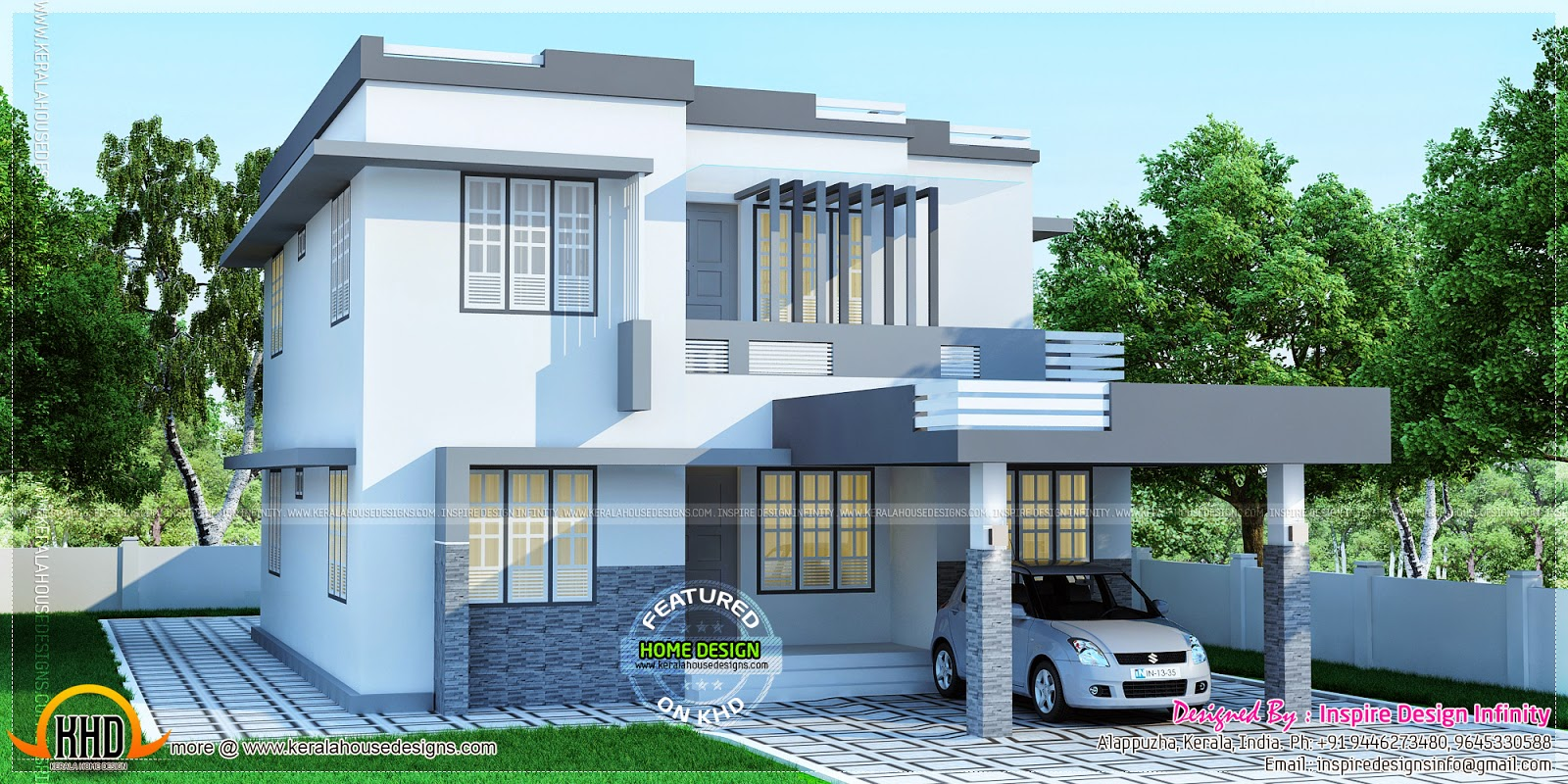 sober colored house rendering kerala home design and floor plans - Home Design Colors