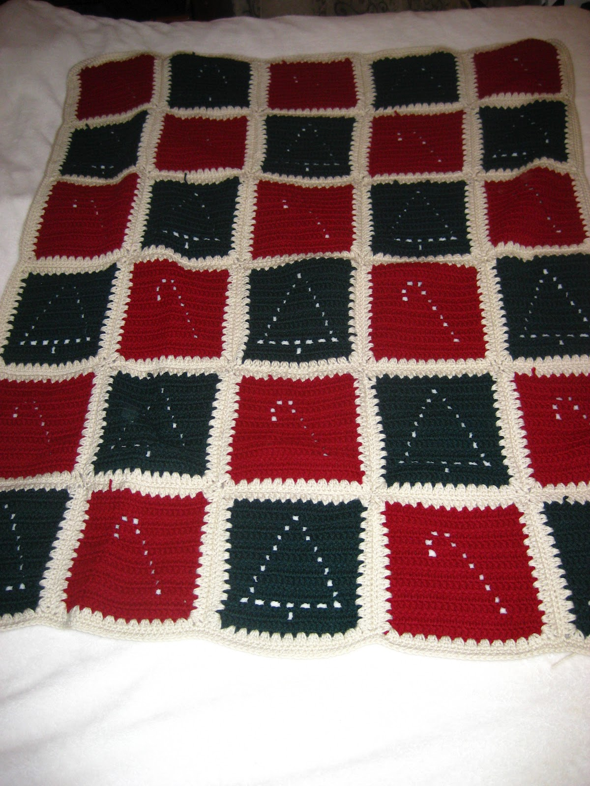 My secret crochet blog christmas tree and candy cane afghan
