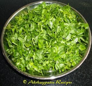 chopped methi to make sabzi