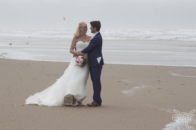 bridal couple on the beach