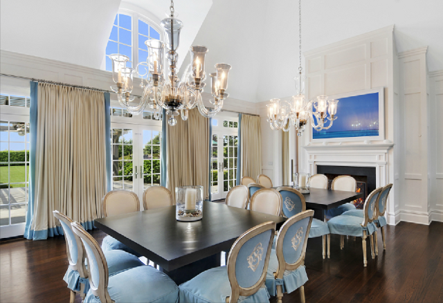 New home interior design hamptons shingle style home for Different dining room styles