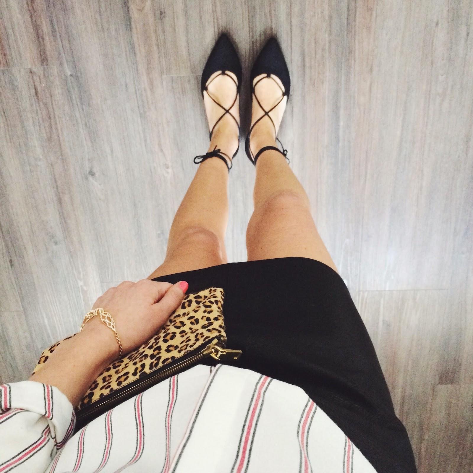 lace up flats, stuart weitzman shoes, stuart weitzman ballet flats, leather skirt, pinstriped shirt, carolina creba