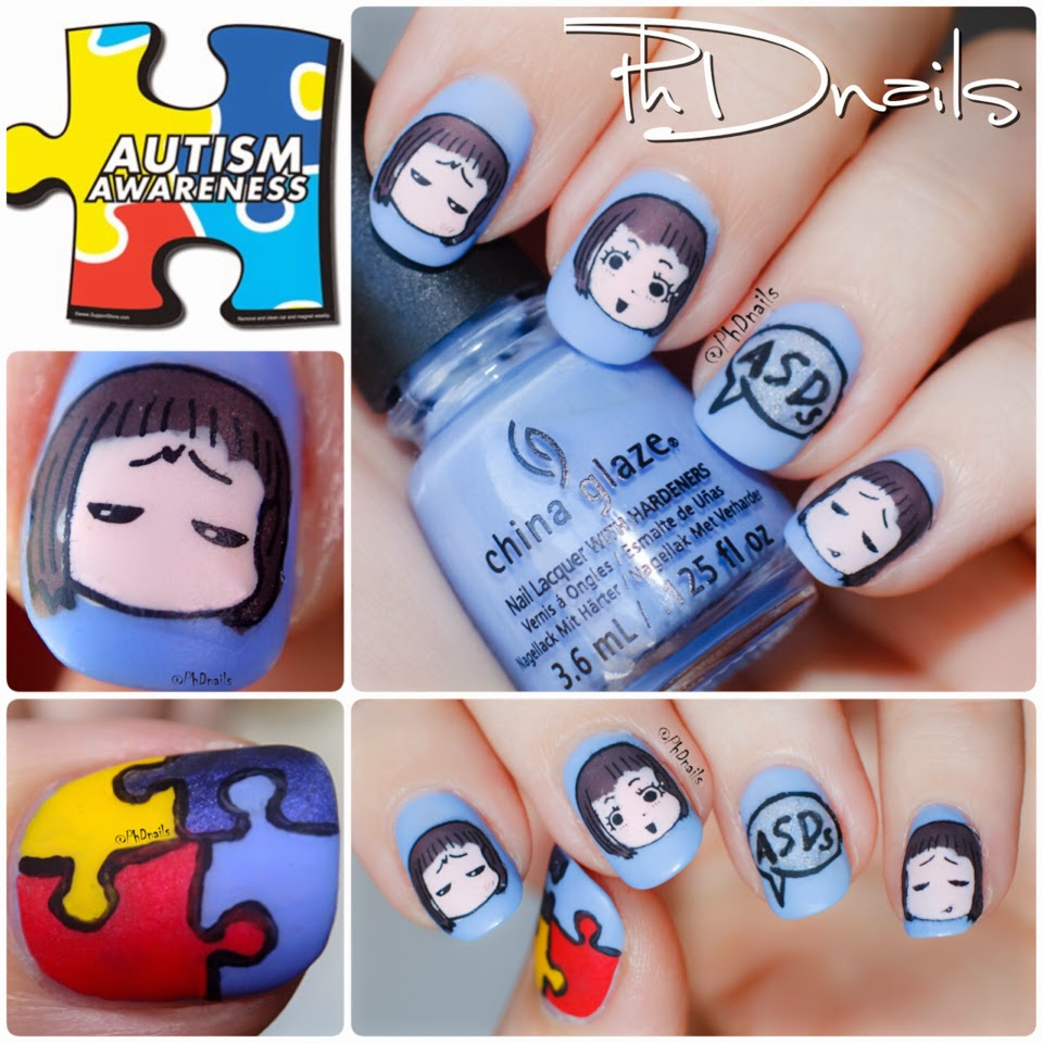 PhD nails: 30 Days of Colour: Matte finish Autism awareness nail art