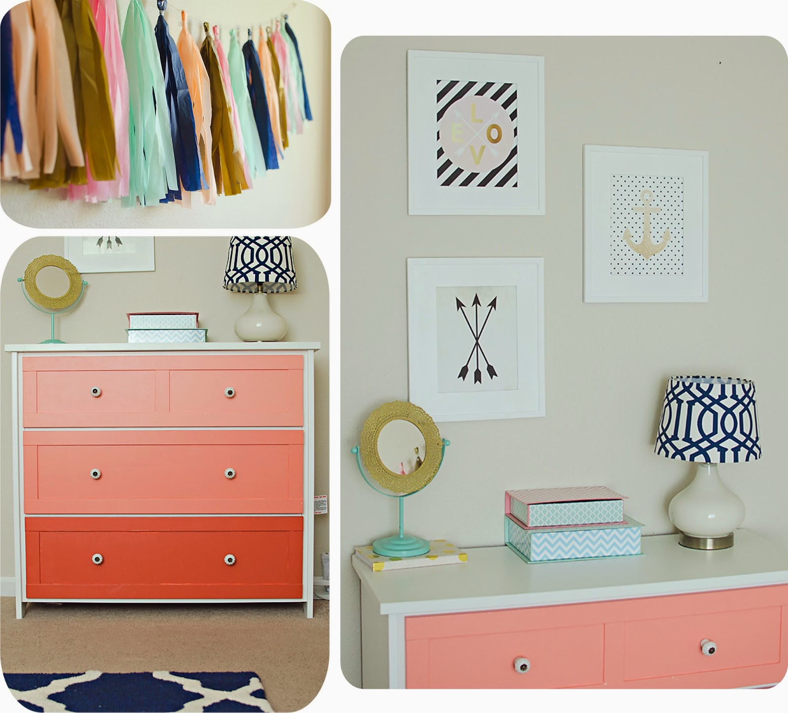 The stanly family gold navy and coral girls bedroom