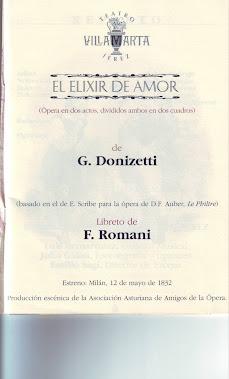 "Programa de la Opera ""El elixir de Amor"" de G. Donizetti."