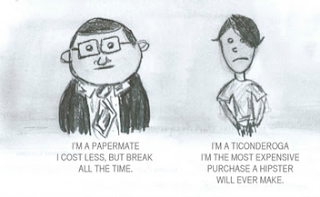 a comic about the papermate pencil verses the ticonderoga pencil