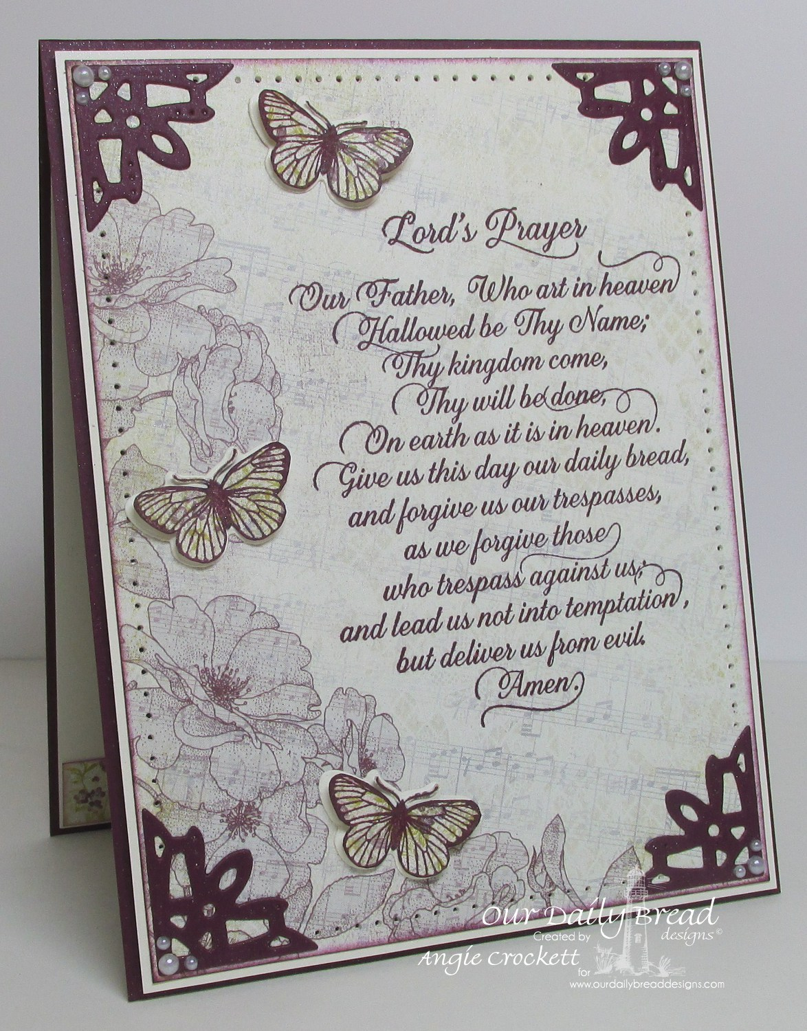 Stamps - Our Daily Bread Designs Lord's Prayer Script, Butterfly and Bugs, ODBD Custom Dies: Butterfly and Bugs, Ornate Borders and Flower
