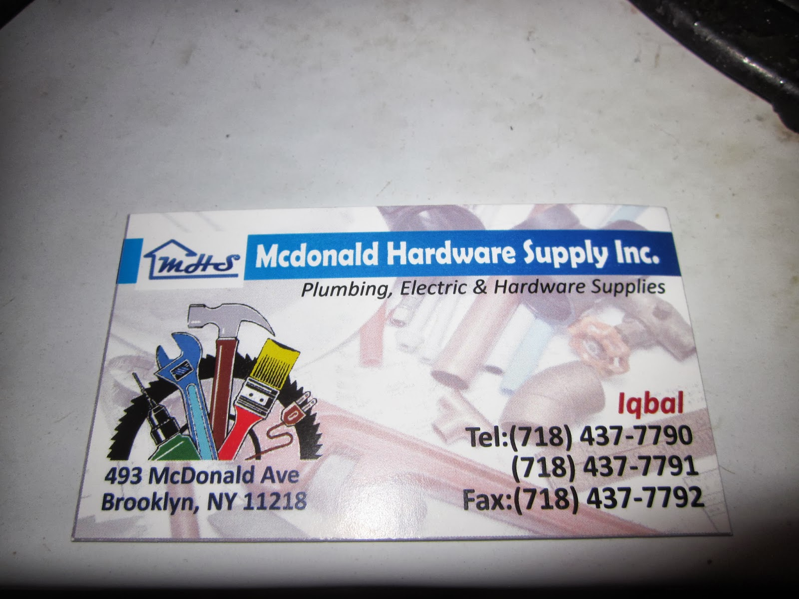 Business cards for hardware store image collections card design karmabrooklyn blog check out mcdonald hardware supply mcdonald hardware supply 493 mcdonald avenue between church avenue magicingreecefo Choice Image