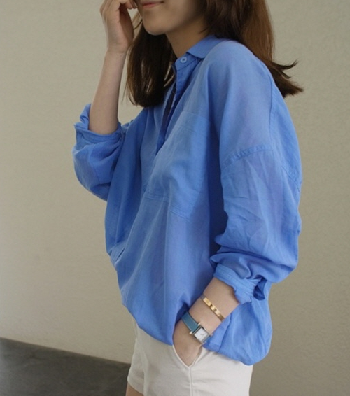 Cotton Gauze See-Through Shirt