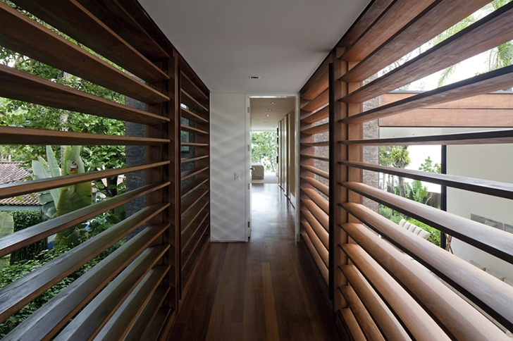 Wooden blinds on Modern beach house in Brazil