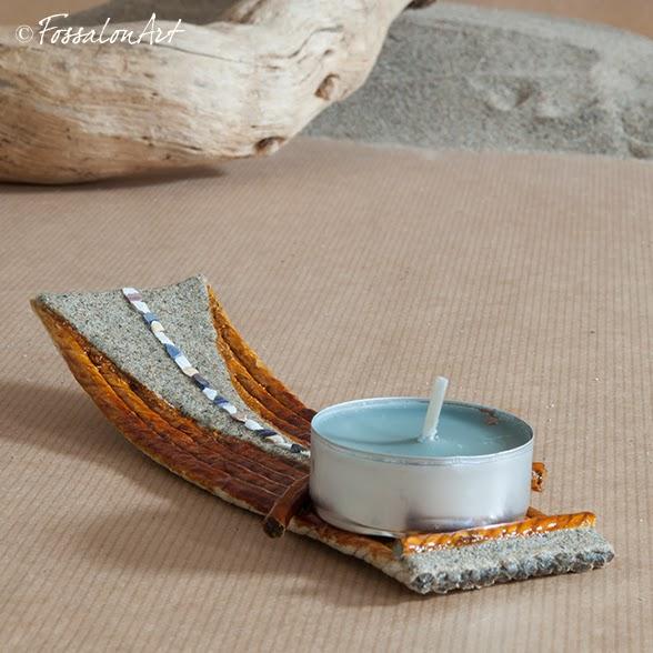 Portacandele in corda, sabbia e frammenti di conchiglie