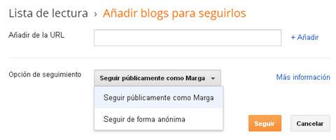 opciones añadir blog en Blogger
