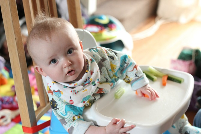 Squidge in the high chair