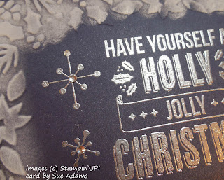 Christmas Card made with Stampin'UP!'s Jolly Christmas stamp set and Boughs and Berries embossing folder