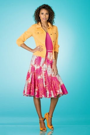 Brightly colored skirt and jacket from Metrostyle