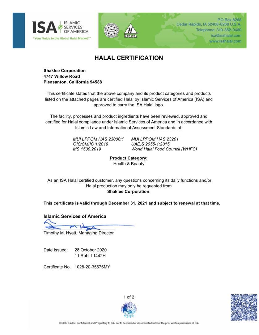 Sijil Halal Shaklee 2021 - Page 1