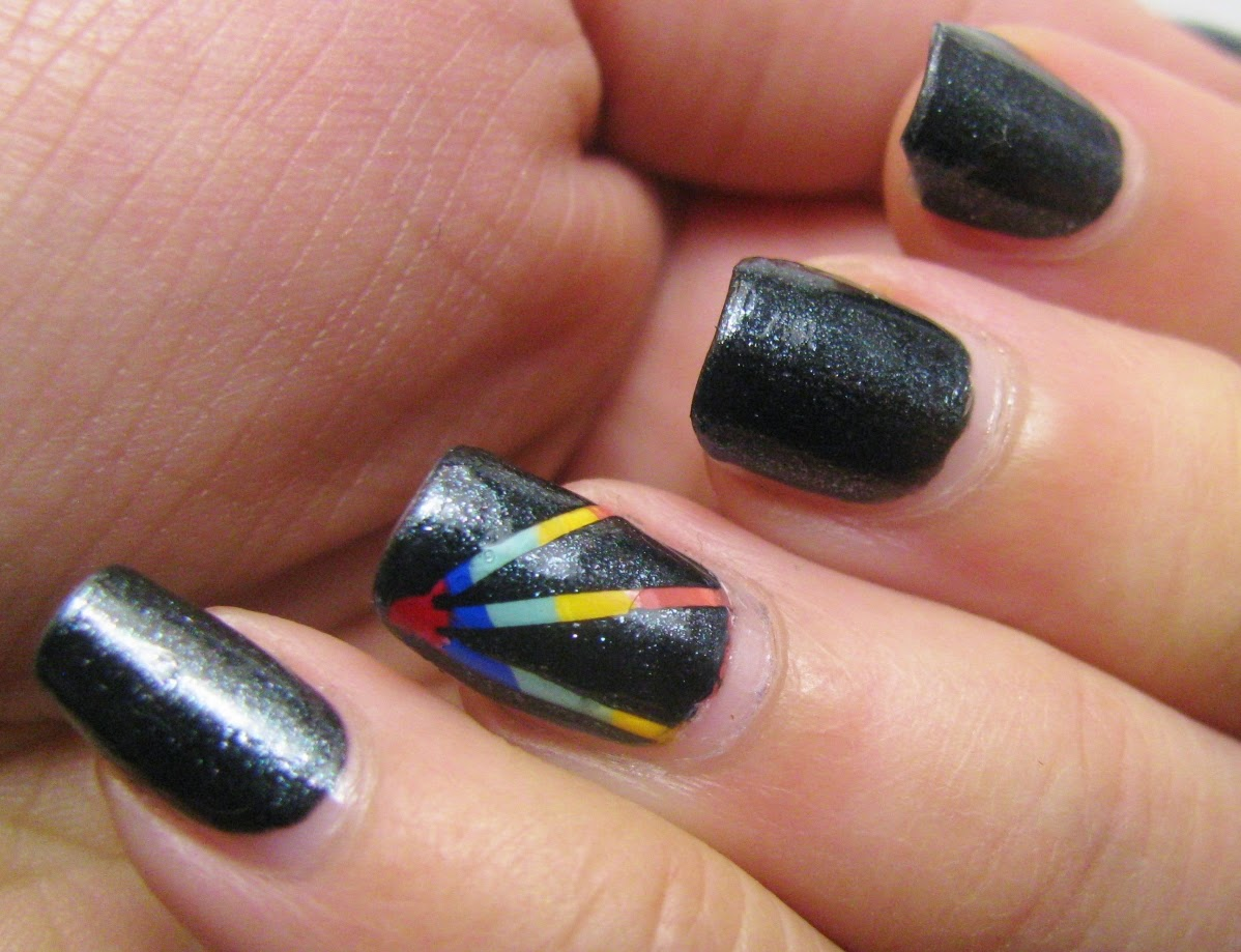 The Super Secret Nail Blog Black And Brights Striping Tape Nail Art
