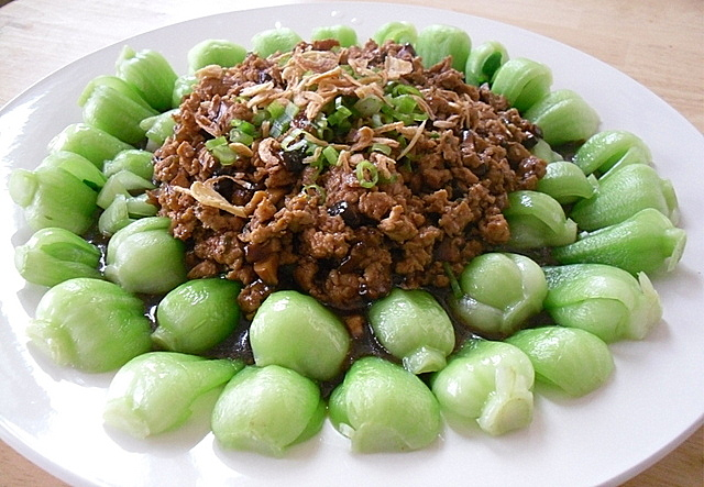 Little corner of mine baby bok choy with minced chicken baby bok choy with minced chicken forumfinder Image collections