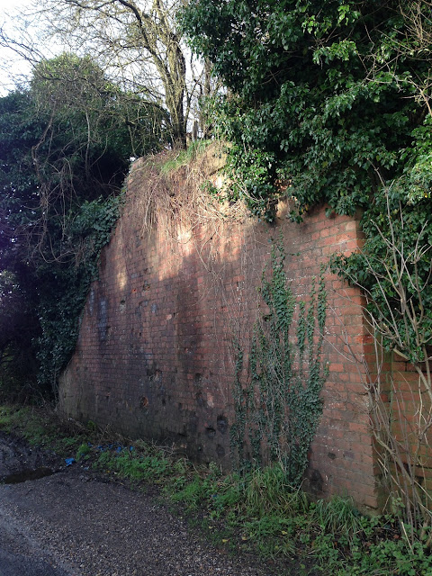 Buttresses of a former bridge carrying the railway south from Whitchurch