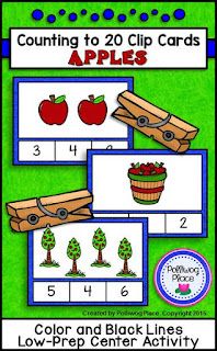 Counting to 20 Clip Cards - Apples - Math Center Activity