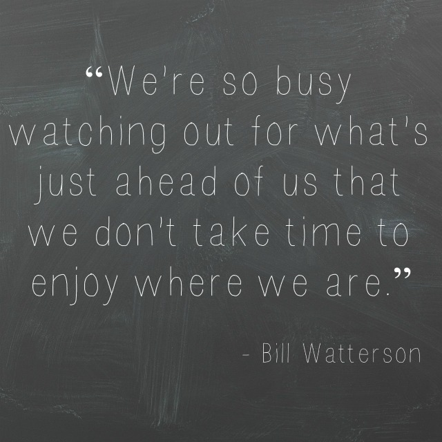 we're so busy watching out for what's just ahead of us that we don't take time to enjoy where we are. - Bill Watterson