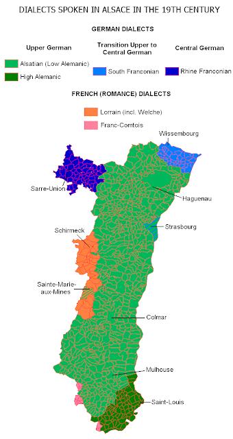 Alsace Karte Stadt Region