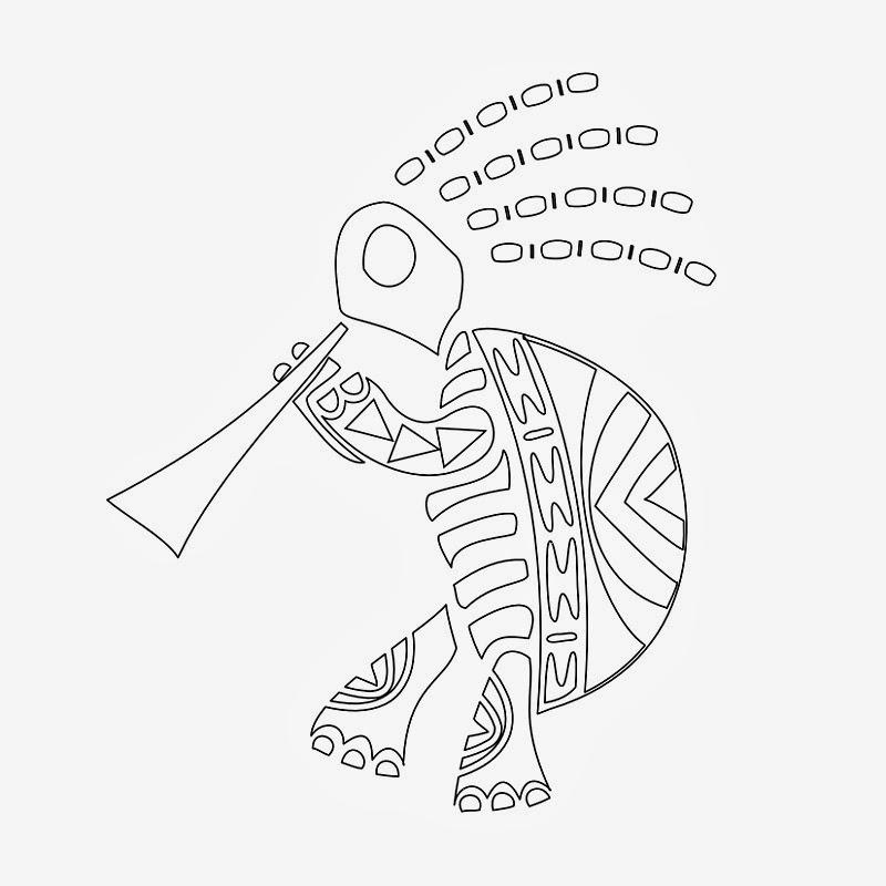 Kokopeli turtle tattoo stencil