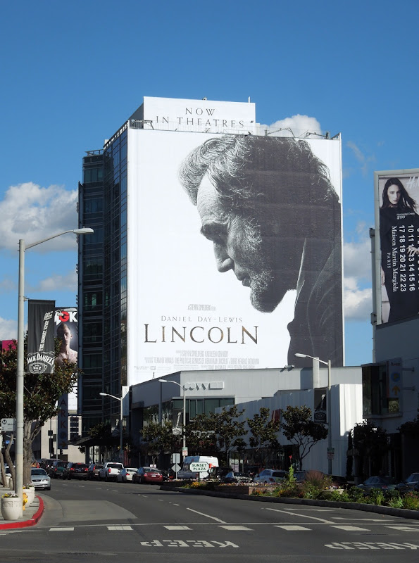 Giant Lincoln movie billboard Sunset Plaza