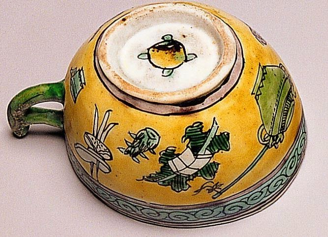 "<img src=""Kangxi Wine Cup base .jpg"" alt="" Detail of Famille Jaune and Verte on Biscuit"">"